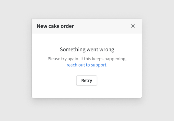 Modal validation error displayed in the modal UI