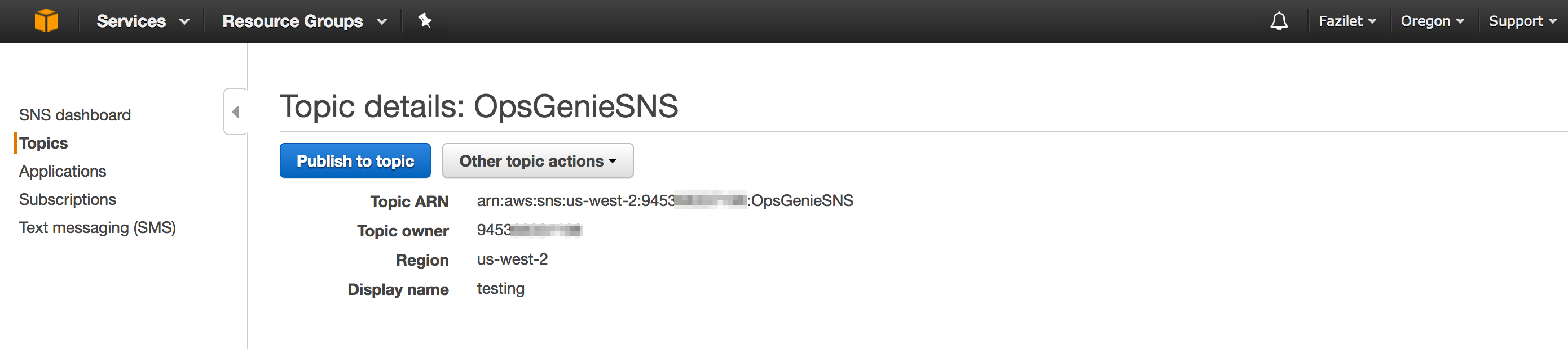 Outgoing Amazon SNS Integration