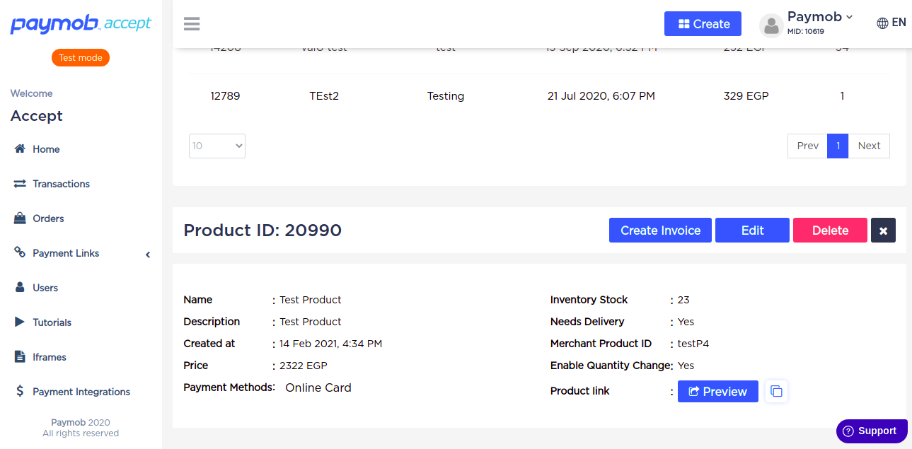 Accept dashboard - Product Details.