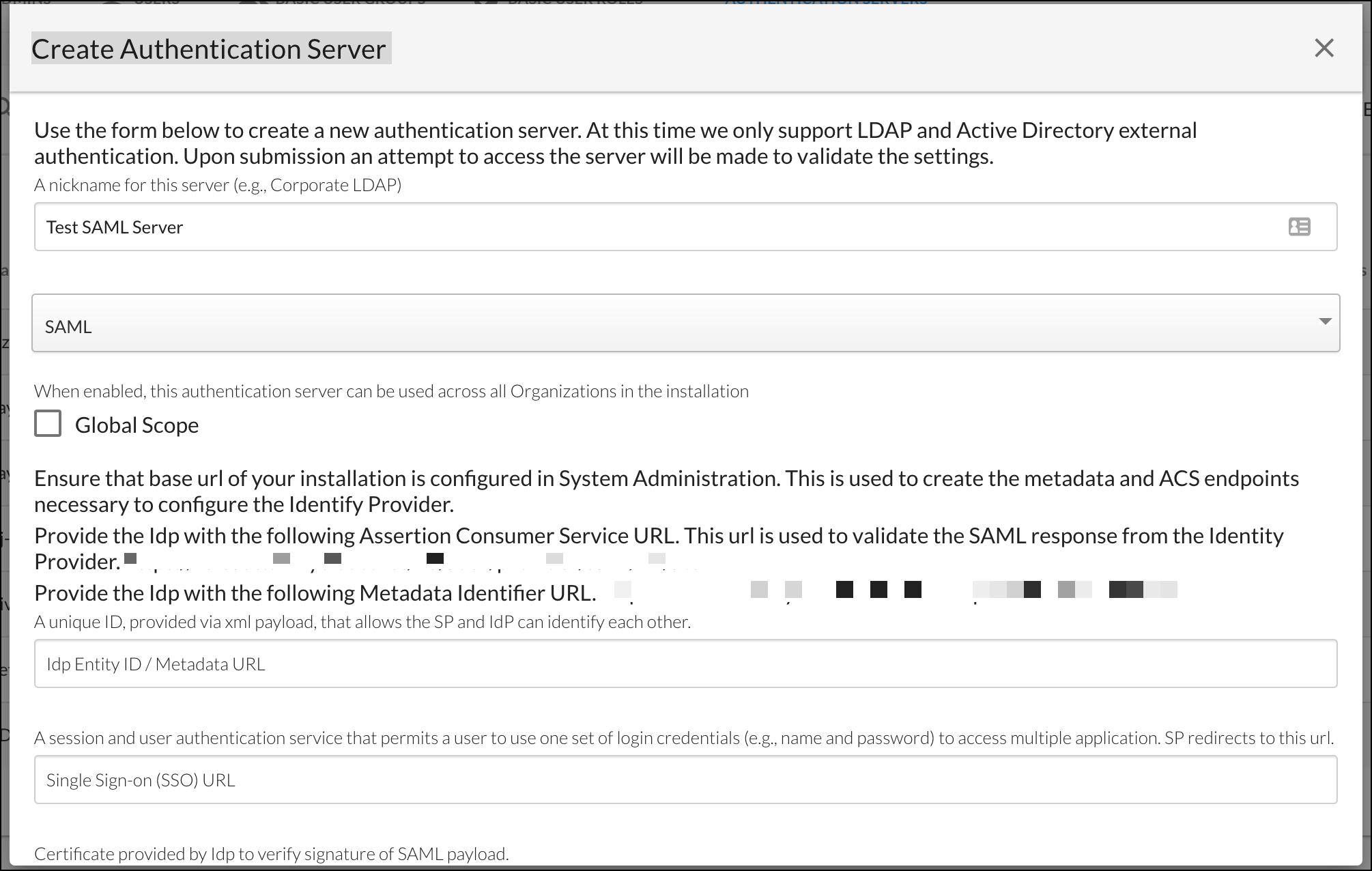 Create Authentication Server - SAML Example