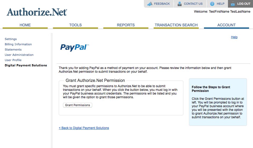 Connecting PayPal To Authorize net