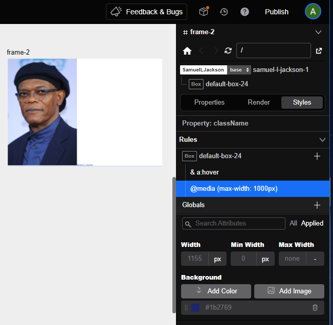 Frame-2 width now greater than 1000px and reverts back to the parent background-color