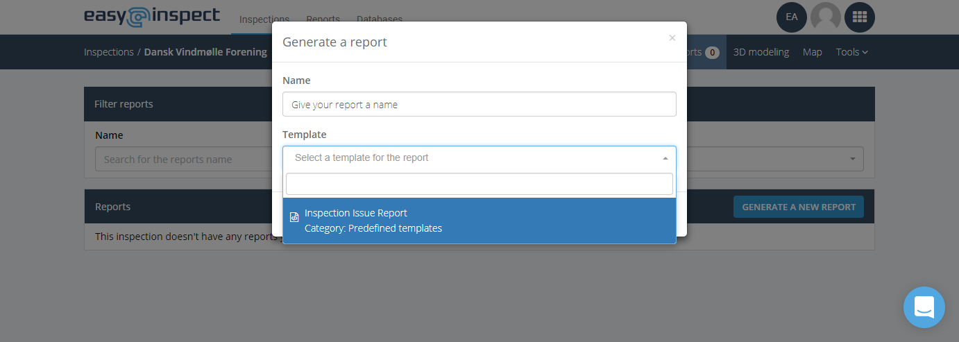 Choose the Inspection Issue Report template