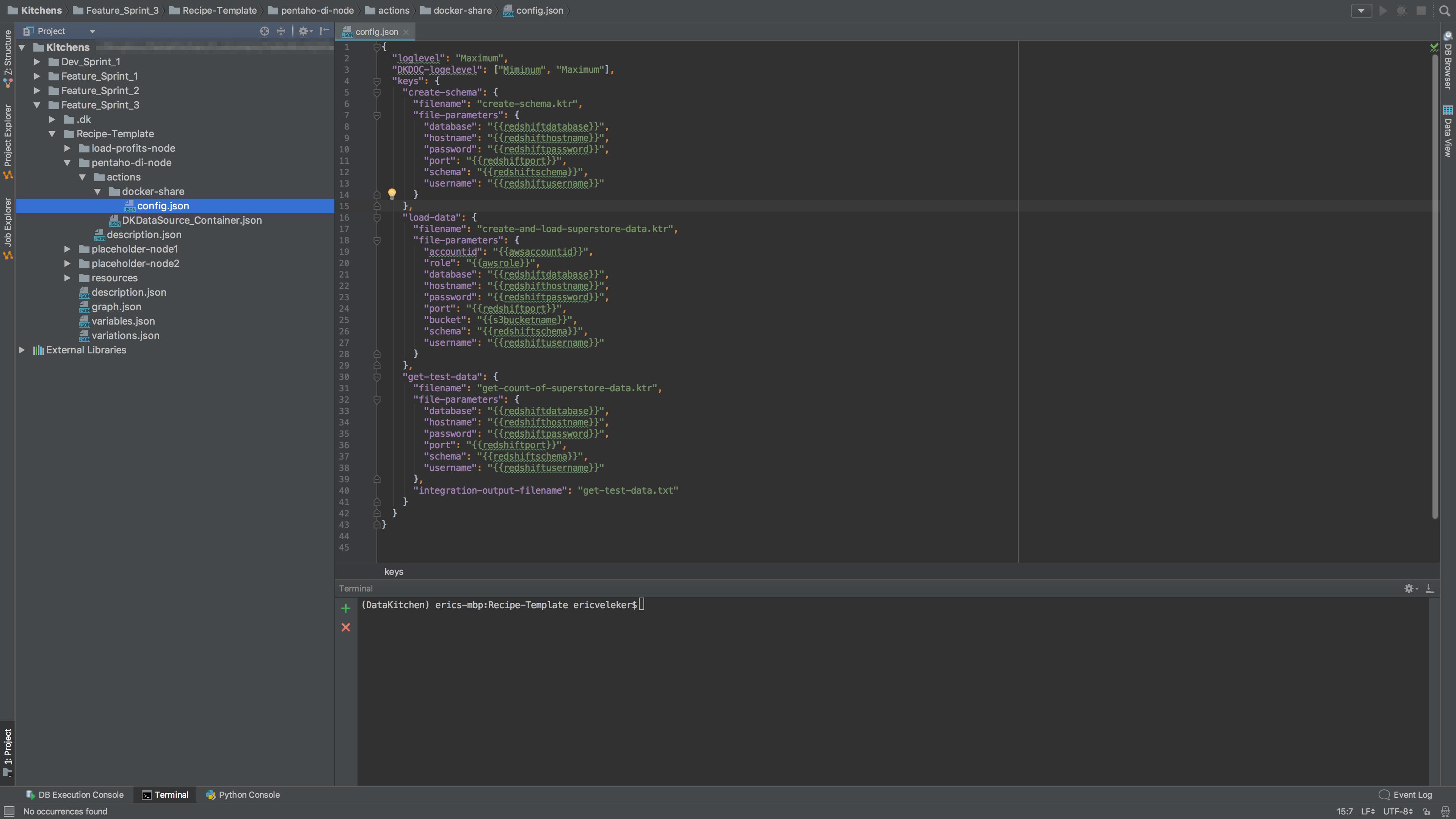 A view of **pentaho-di-node**'s configuration file, **config.json**.