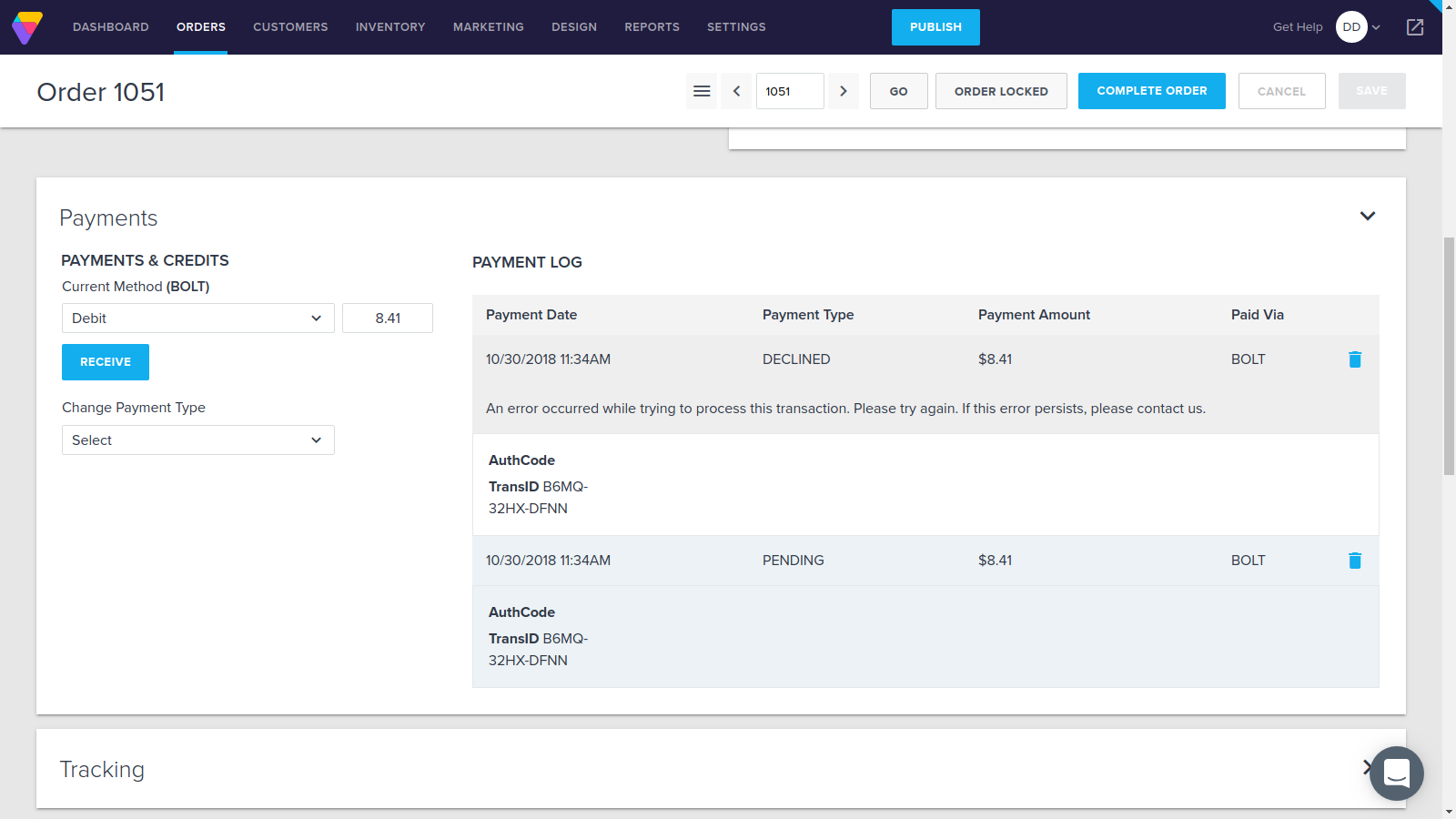 Image 5: PENDING -> DECLINED