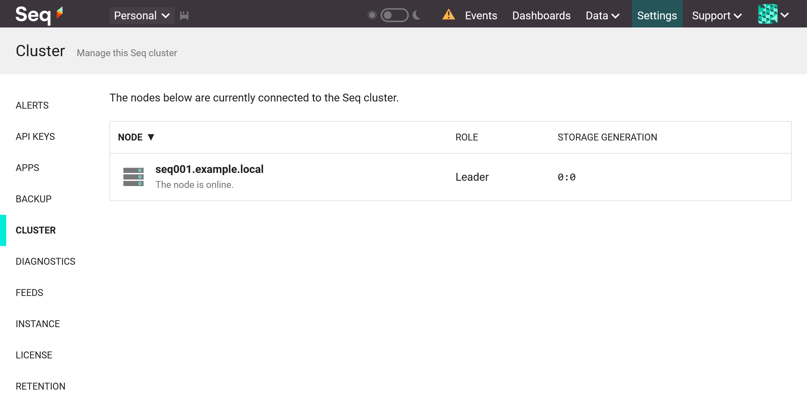 Seq Cluster screen with leader only.