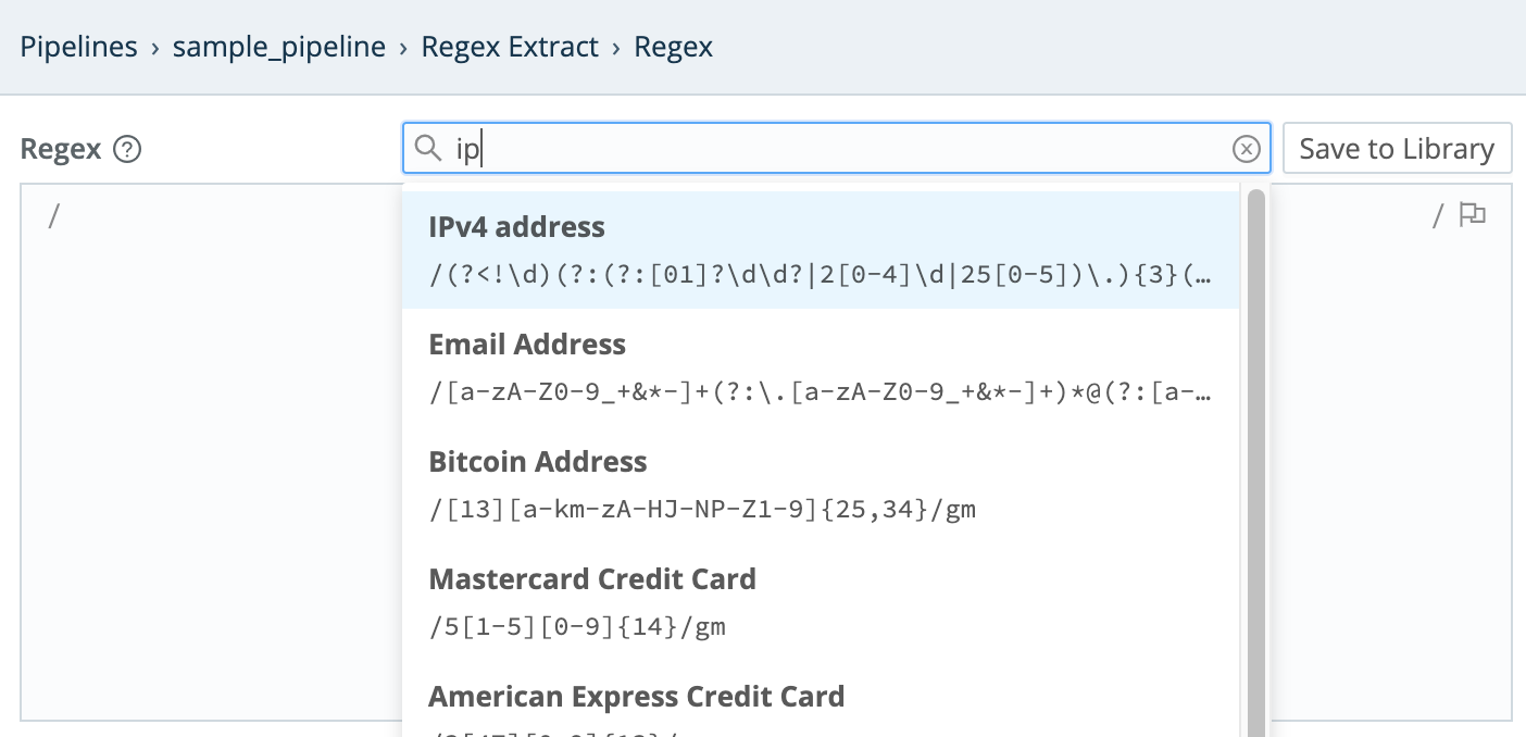 Inserting a pattern from the Regex Library