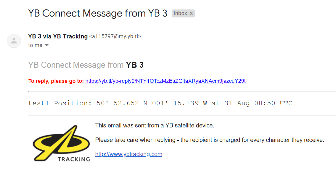 Example email from YB 3 to First Responder