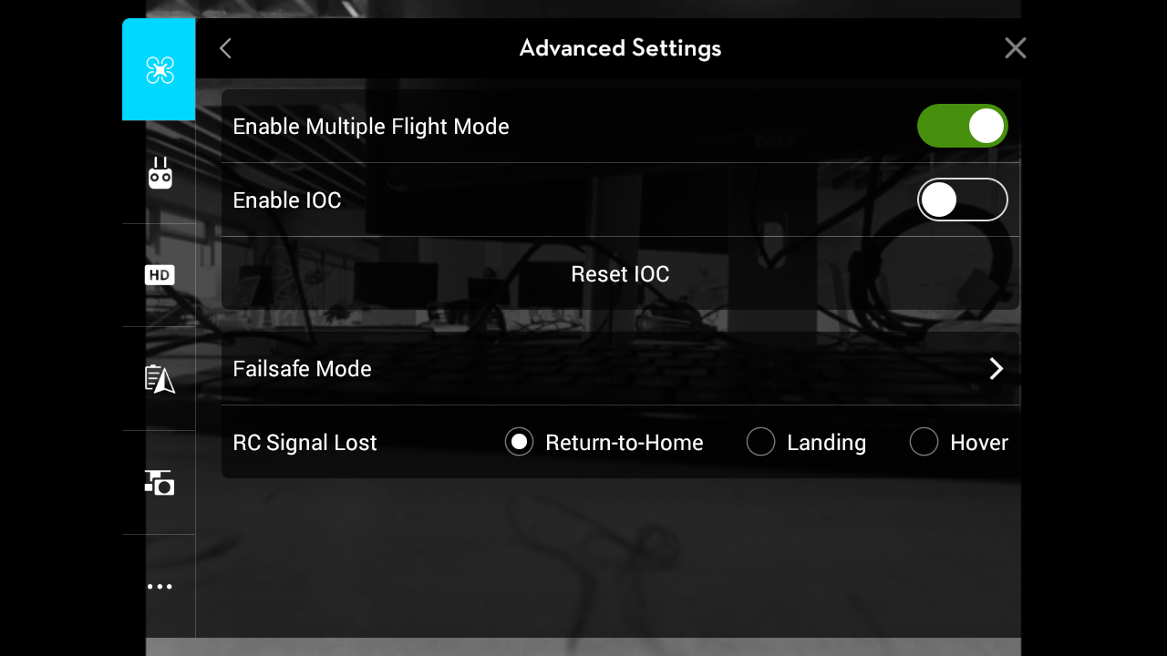This is an example of the correct DJI Go settings for DroneDeploy usage.