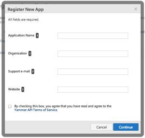 step 1 app registration yammer developer site