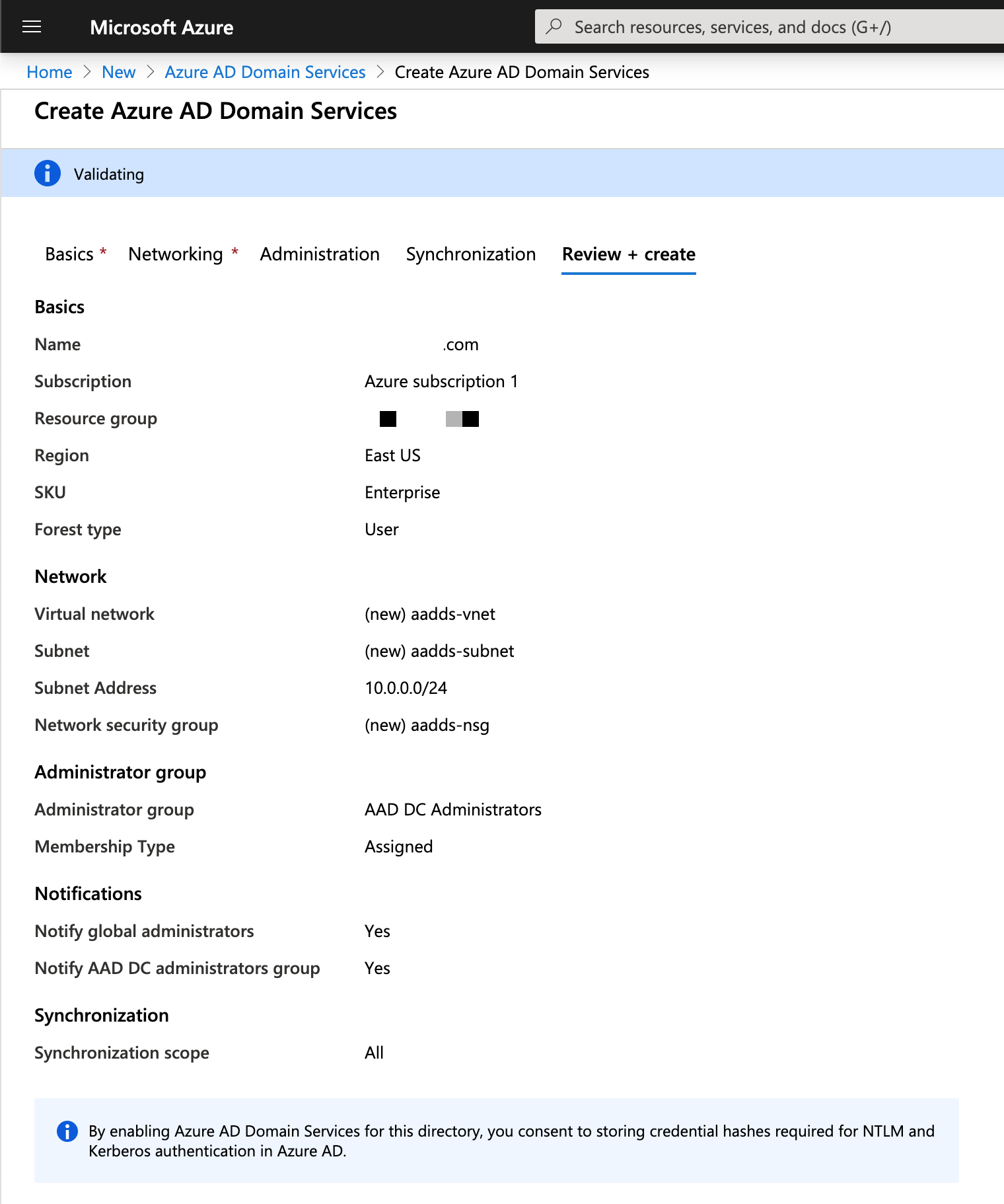 Azure portal > Review + create window for Azure AD DS