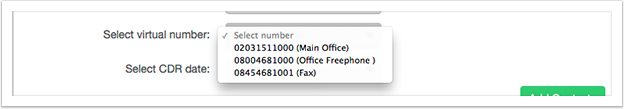 Select the virtual number you want to pull the statistics from using the drop down box