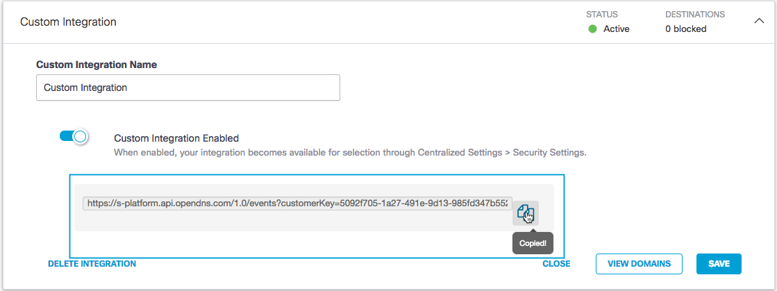 Configure Custom Integrations