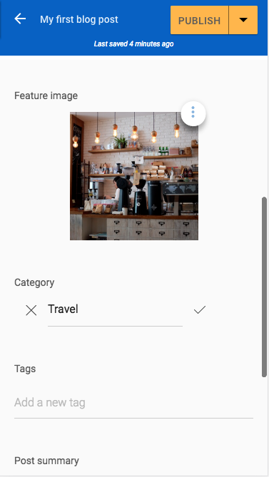 Feature image and category added