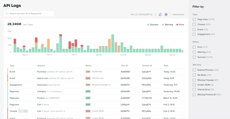API Logs screen