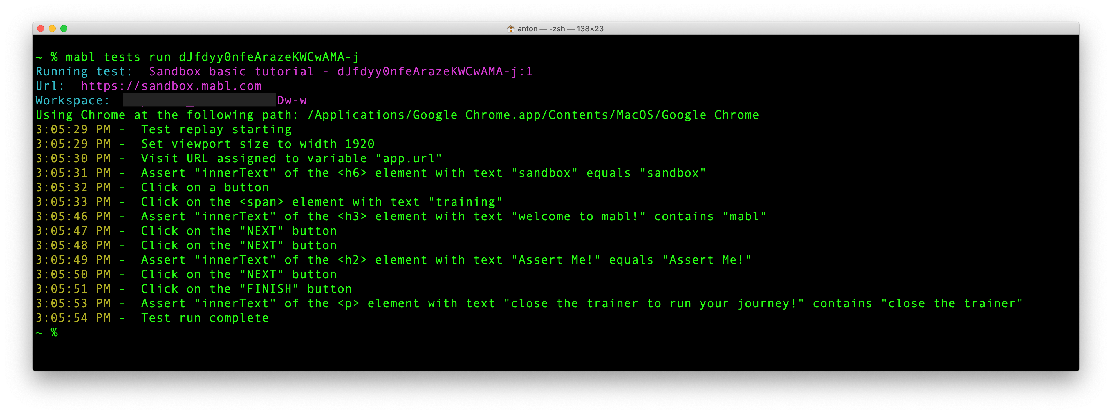 Quickly execute tests from the command line