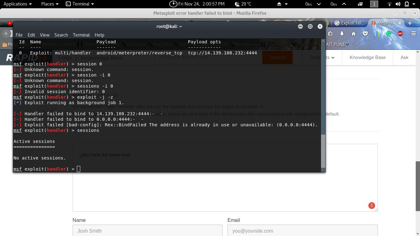 Metasploit error handler failed to bind