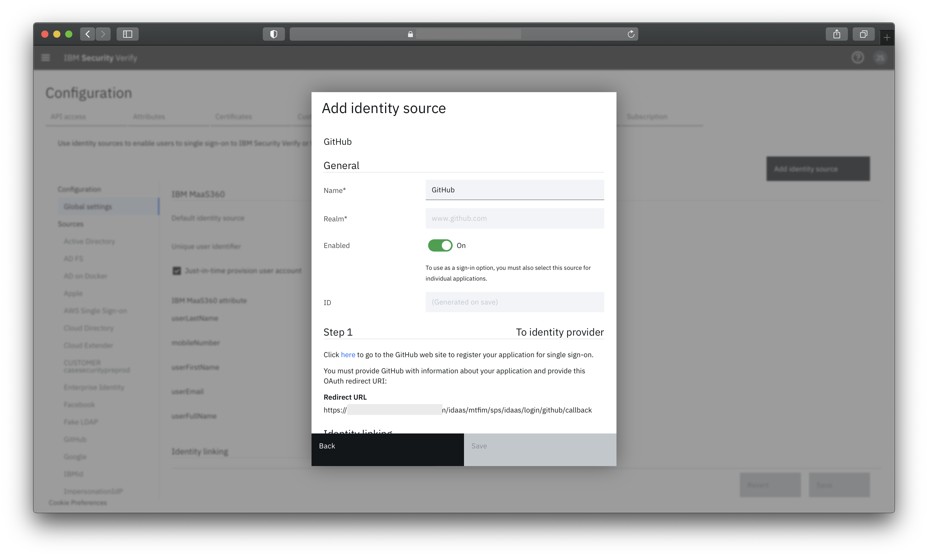 Configuring GitHub as a external provider for user authentication