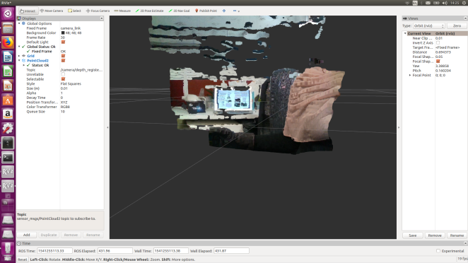 An RViz visualization of the coloured 3D point cloud from the depth ROS topic.
