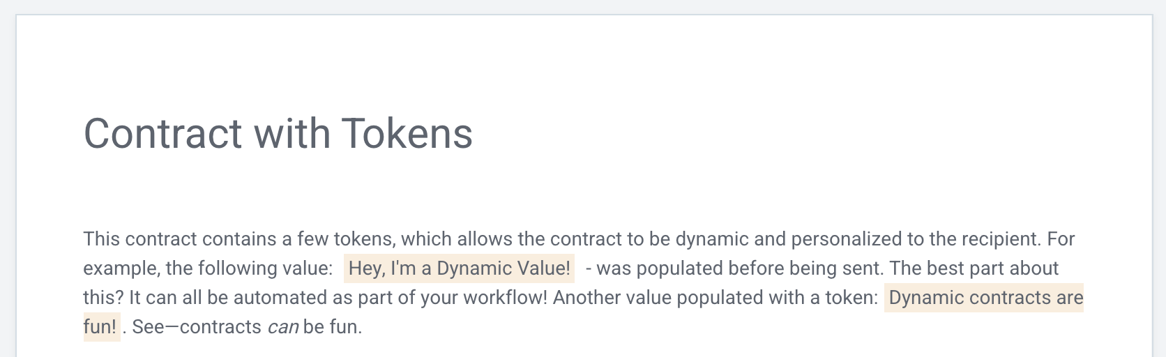My contract now has tokens with values.