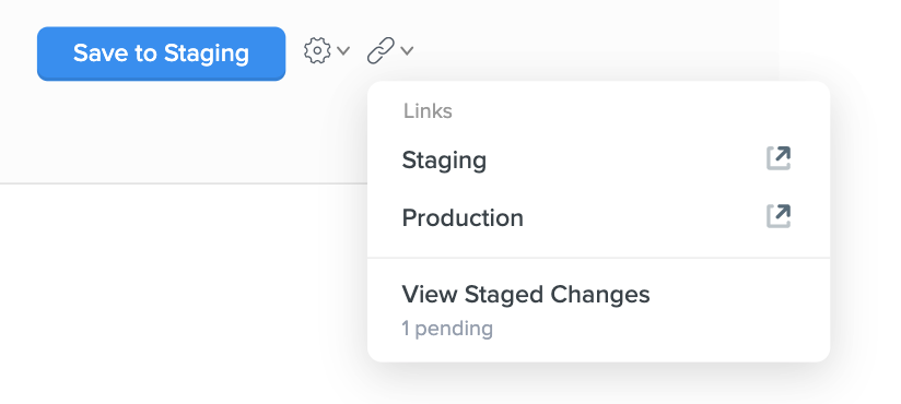 """""""View Staged Changes"""" will take you to the Staging section of the Enterprise Group"""