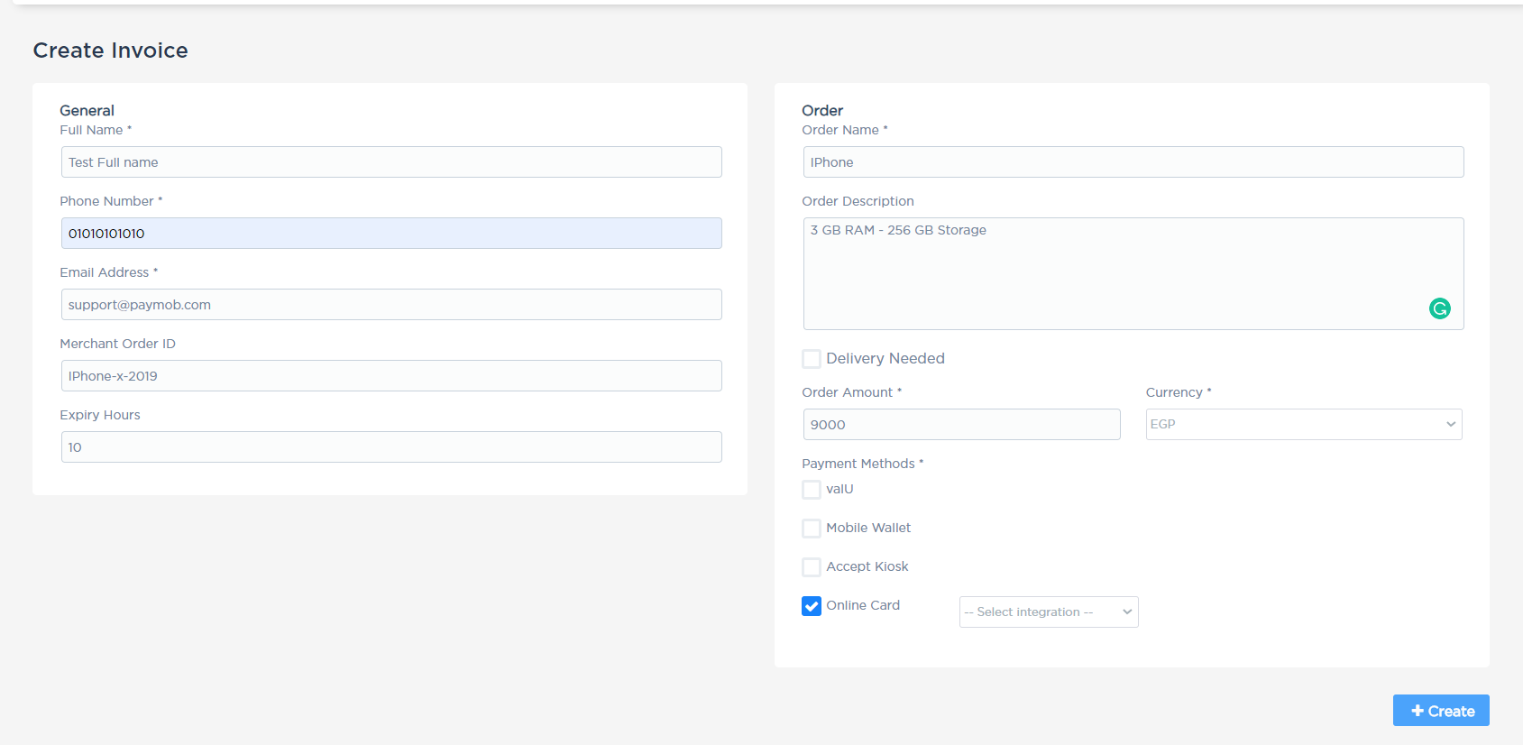 Accept dashboard - Invoice Creation Details.