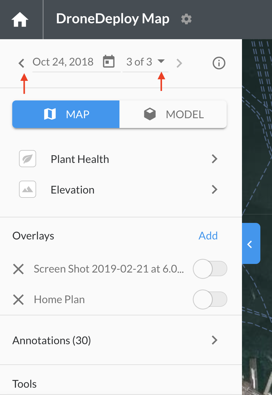 When you view a map of a location that has been mapped multiple times, you will see forward and back arrows and a calendar date picker. Just click the forward button to move to the next map in time and the back button to view the previous map.