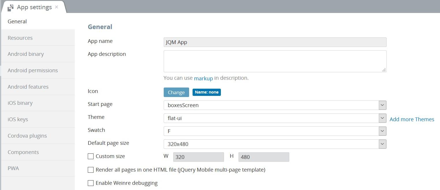 jQuery Mobile app settings