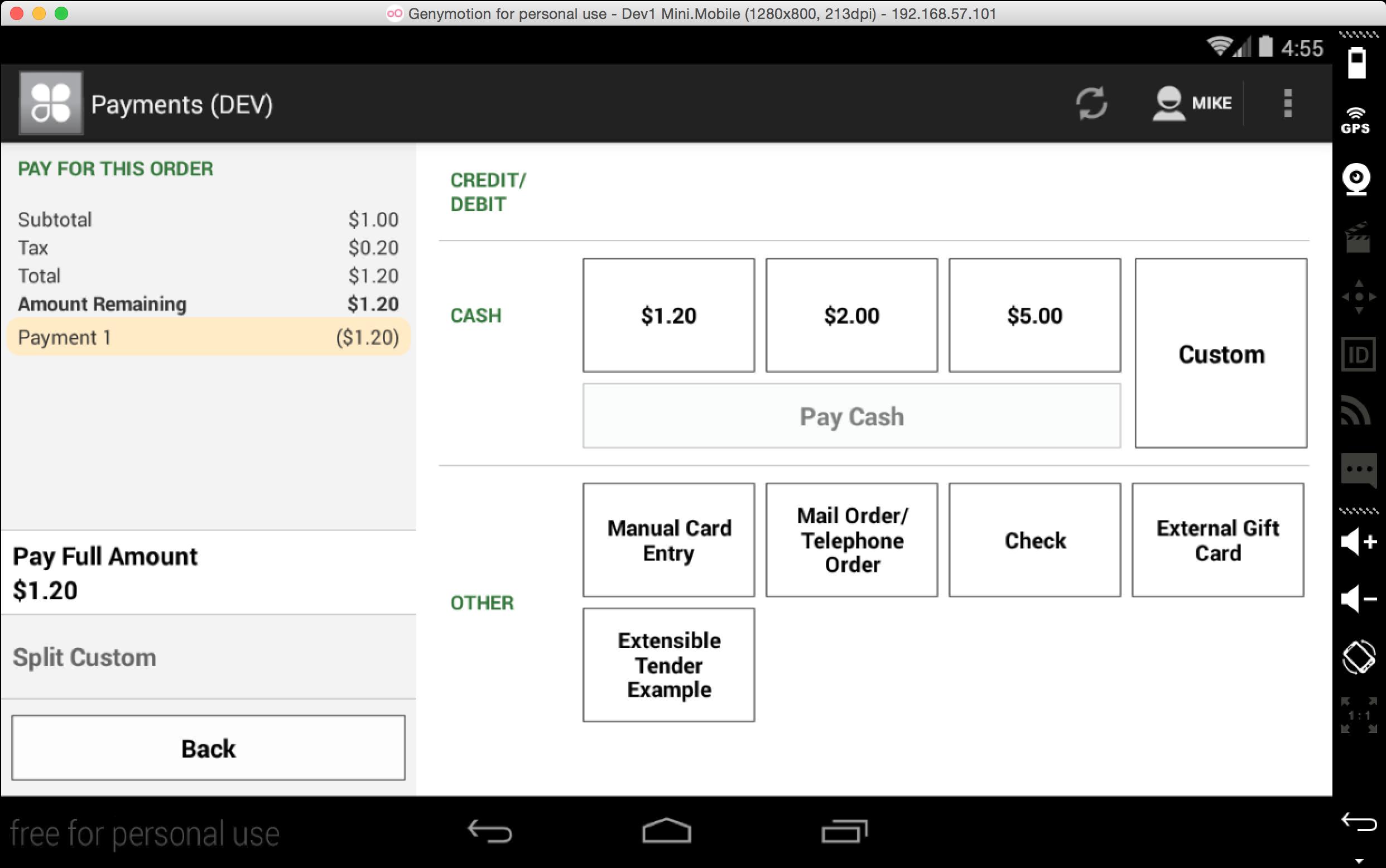 Custom Tender: Merchant-facing button in the Register app
