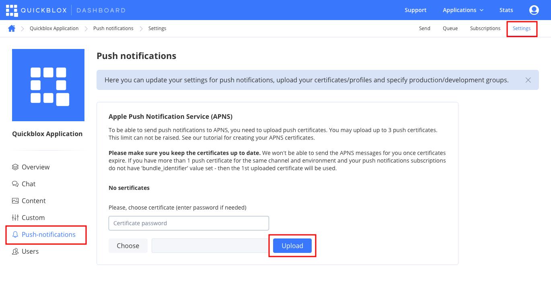 push notifications settings for ios app
