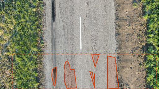 **Good** - All crack areas annotated properly. Separation from normal road is good and background is defined.