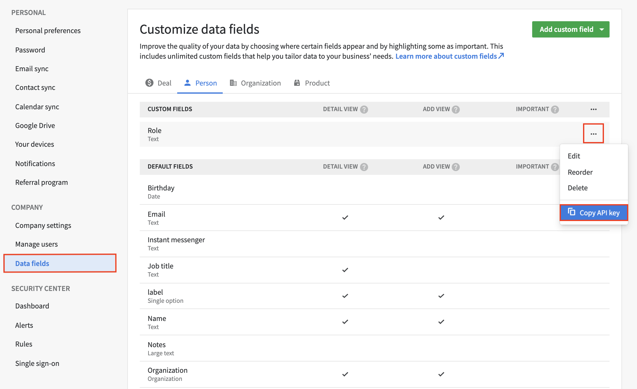 Finding the API key of a custom field