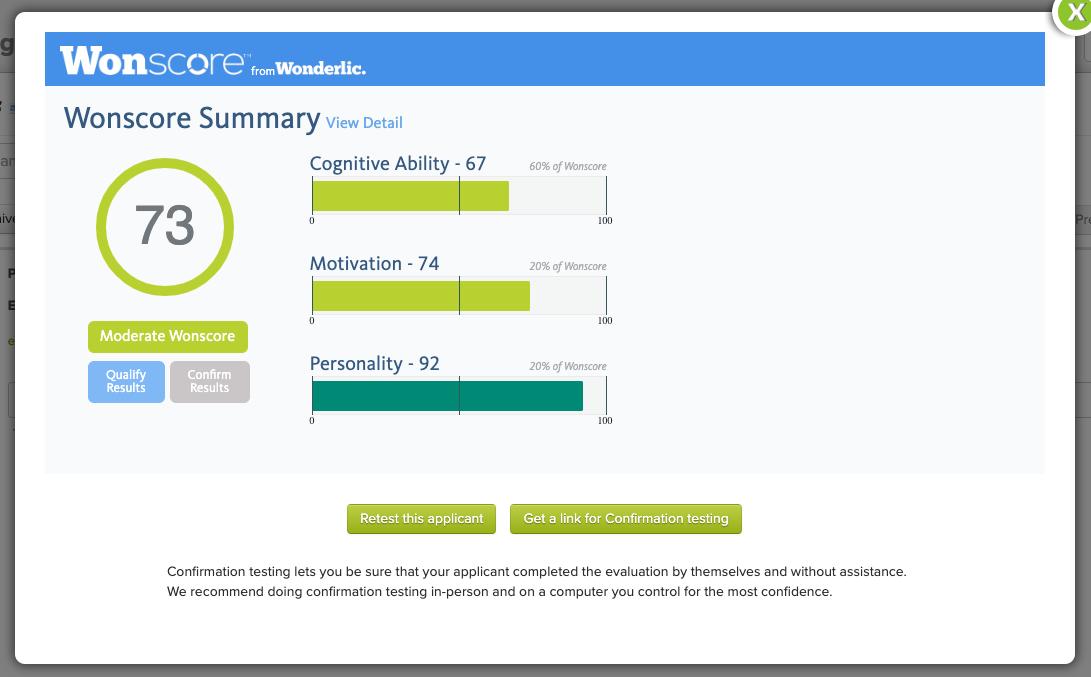 Sample updated assessment scores.