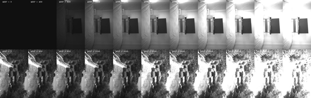 Figure 7. Effect of adjusting auto-exposure set-point for an indoor (top)and outdoor (bottom) scene. The setpoint is increased going from left side images to right-side images. Note that in the outdoor scene the image cannot  get any darker on the left, due to sensor minimal exposure limitations.