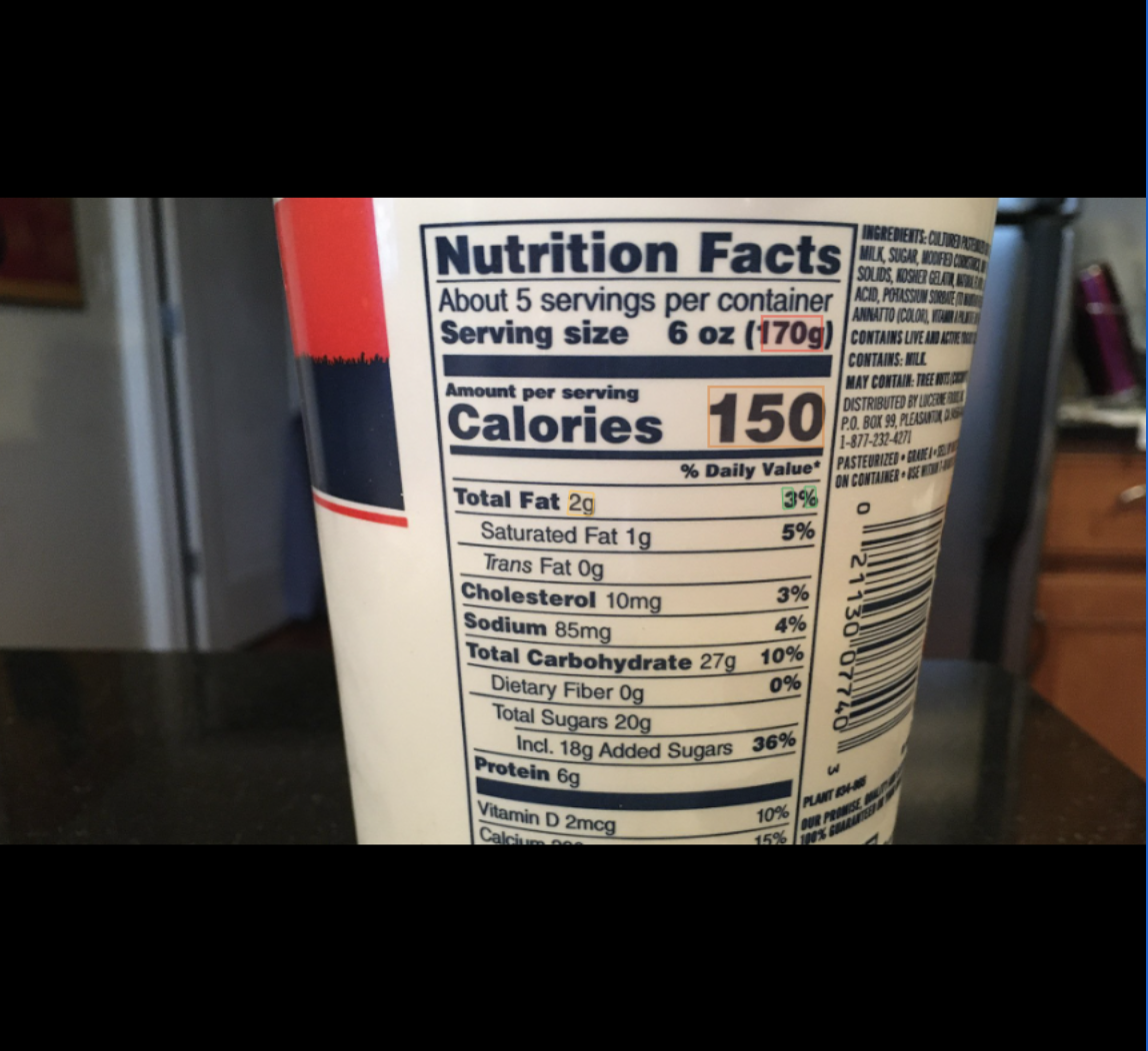 Nutrition facts label key data extraction
