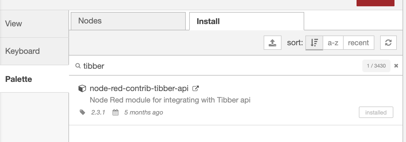 Install the node-red-contrib-tibber-api module from the palette.