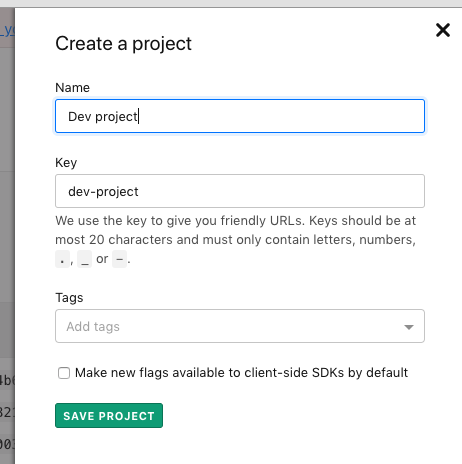 The Create a project screen.
