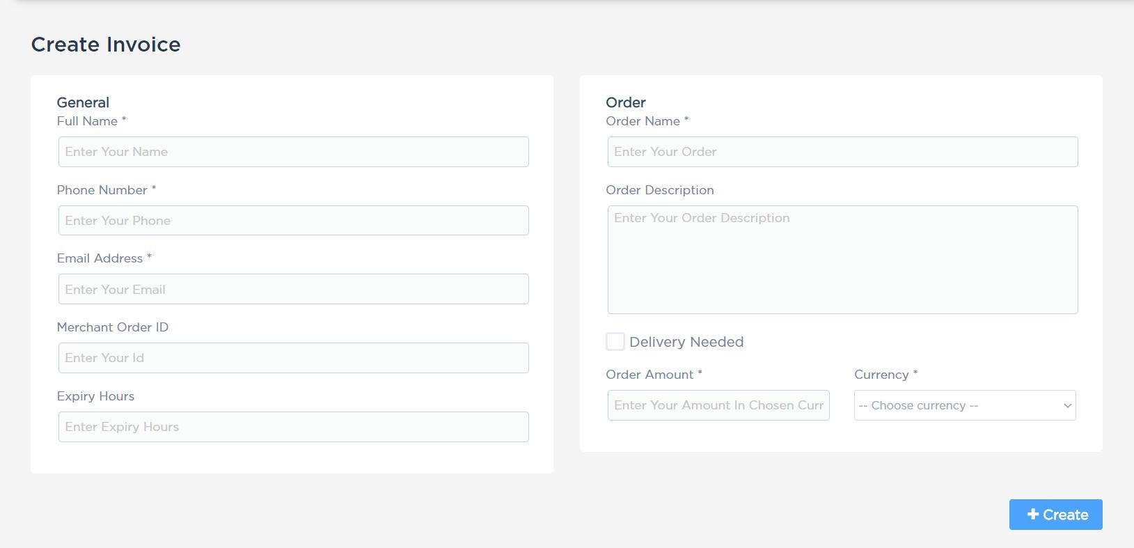 Accept dashboard - Invoice Creation.