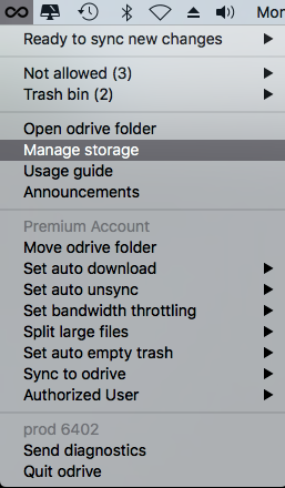 Manage storage is located in your odrive system tray