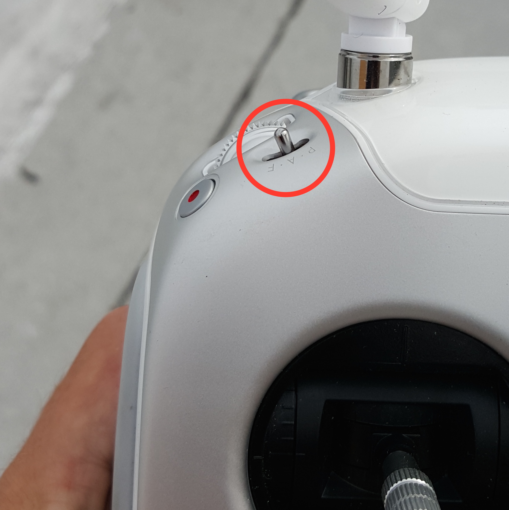 Position of mode switch on remote controller (P3 pictured).