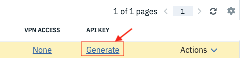 Click Generate to create a new API Key