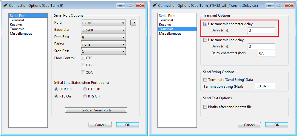 The coolTerm options: common serial communication settings (left) and the character transmit delay to prevent character loss during (right) sending Wi-Fi SSID/pwd and Xively Credentials.