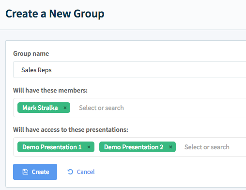 Creating a group is quick and easy.