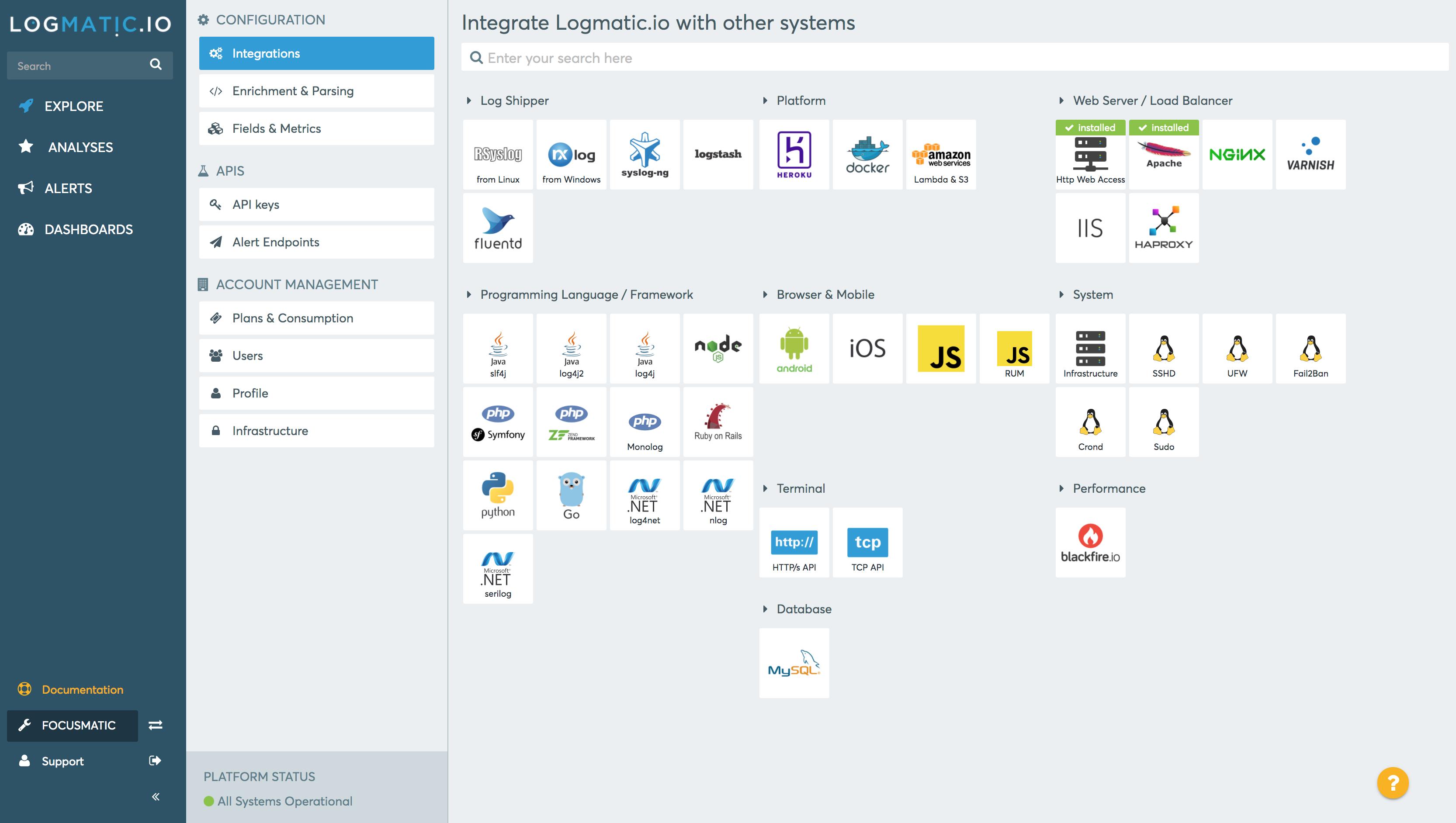 Integrations panel