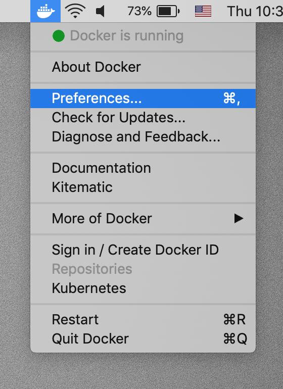 Docker preferences option.
