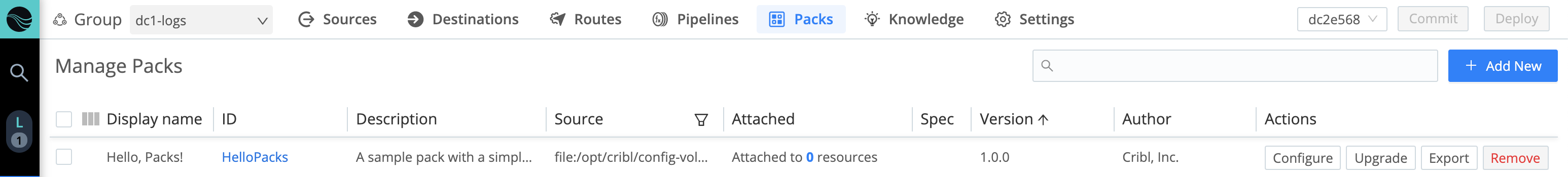 Manage Packs page with example Pack