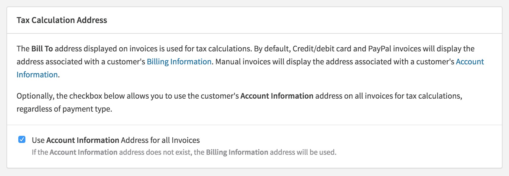 customer addresses and exemption