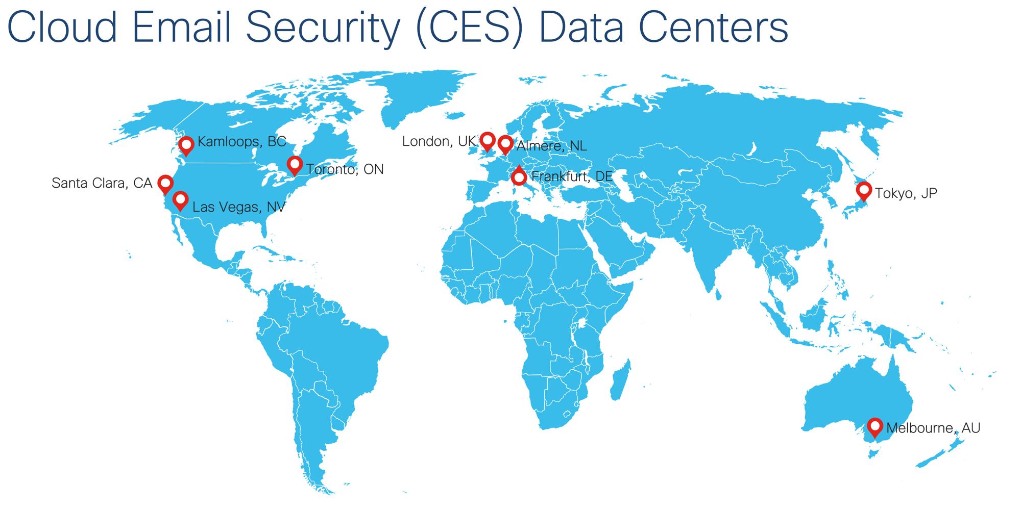 Cisco CES Datacenter Map (as of 8/2019)