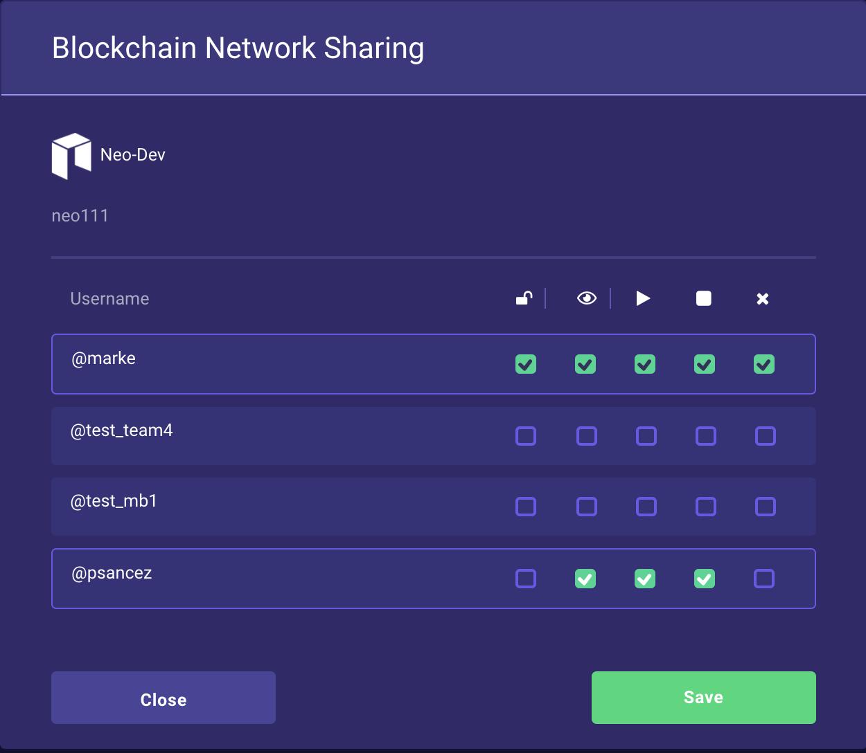 Share blockchain permission