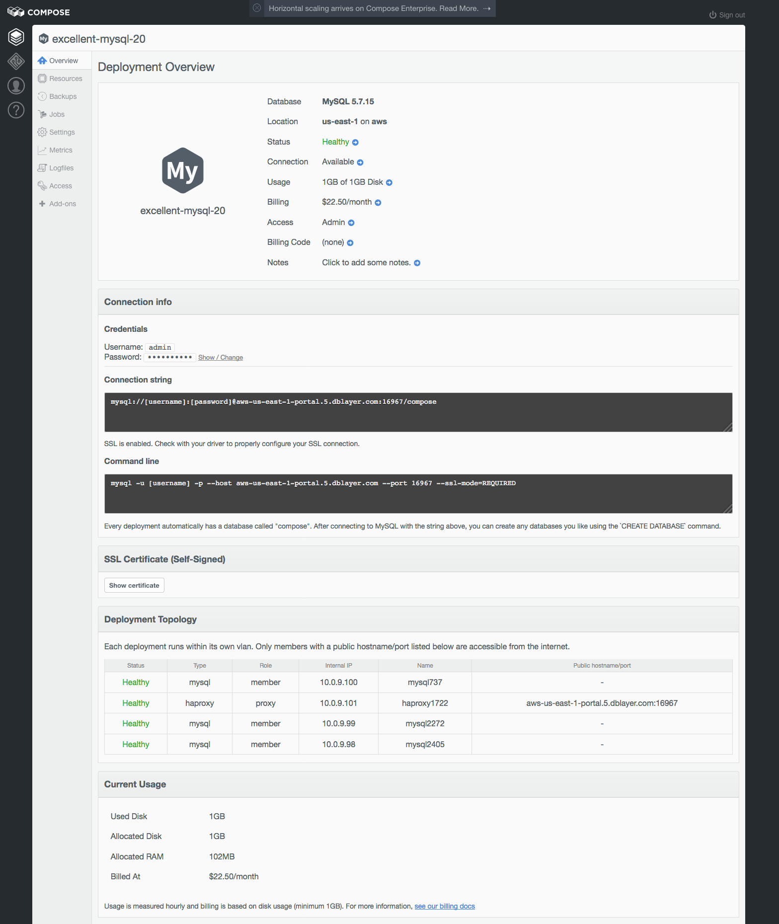 The Deployment Overview page from a Compose for MySQL deployment.